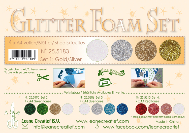 25.5183 Glitter Foam Set 1, 4 different glitter foam sheets A4 gold /silver colours.