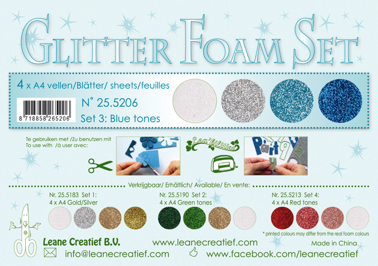 25.5206 Glitter Foam Set 3, 4 different glitter foam sheets A4 blue / white /silver colours.