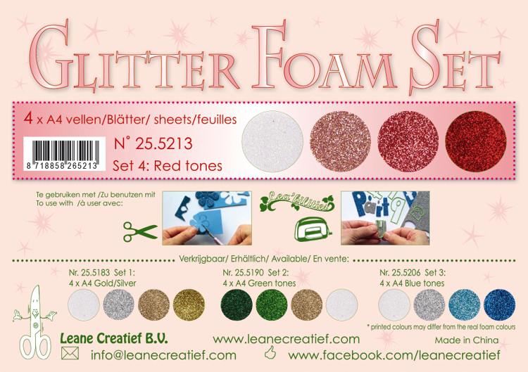 25.5213Glitter Foam Set 4, 4 different glitter foam sheets A4 red / white colours.