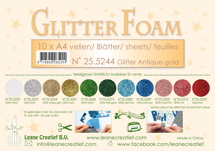 25.5244 Glitter foam sheets A4 Glitter Antique Gold 10 sheets