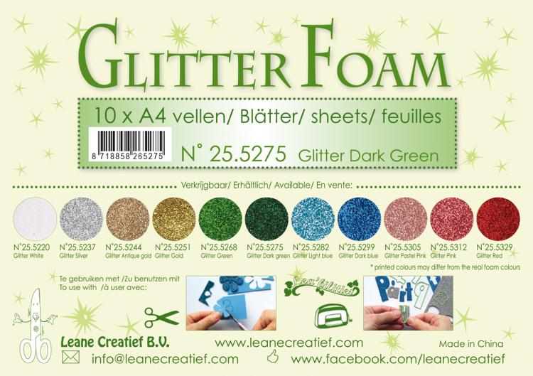 25.5275 Glitter foam sheets A4 Glitter Dark Green 10 sheets