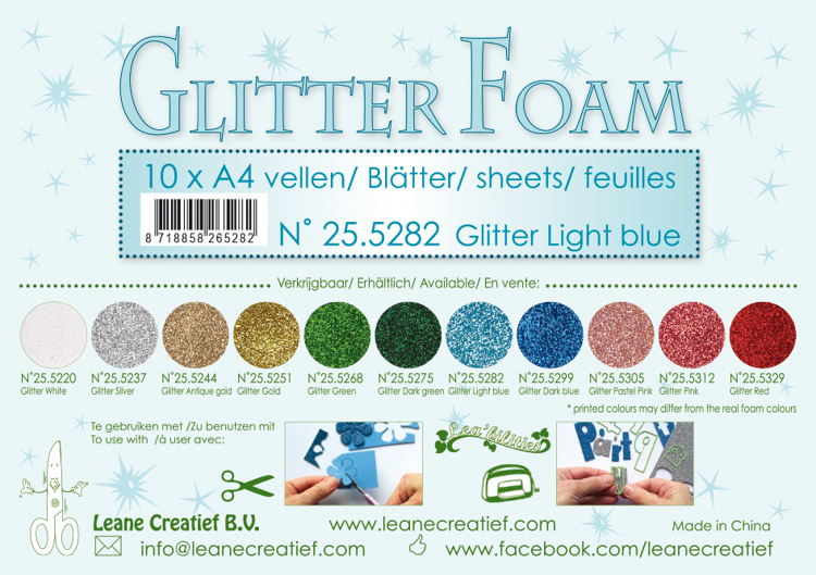 25.5282 Glitter foam sheets A4 Glitter Light Blue 10 sheets