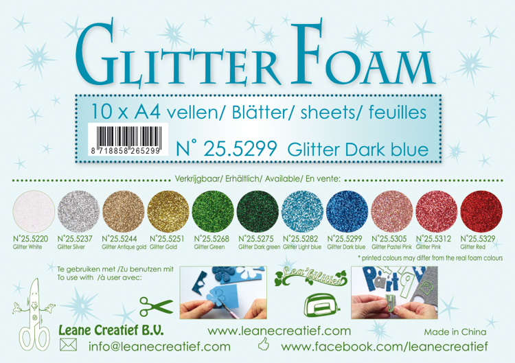 25.5299 Glitter foam sheets A4 Glitter Dark Blue 10 sheets