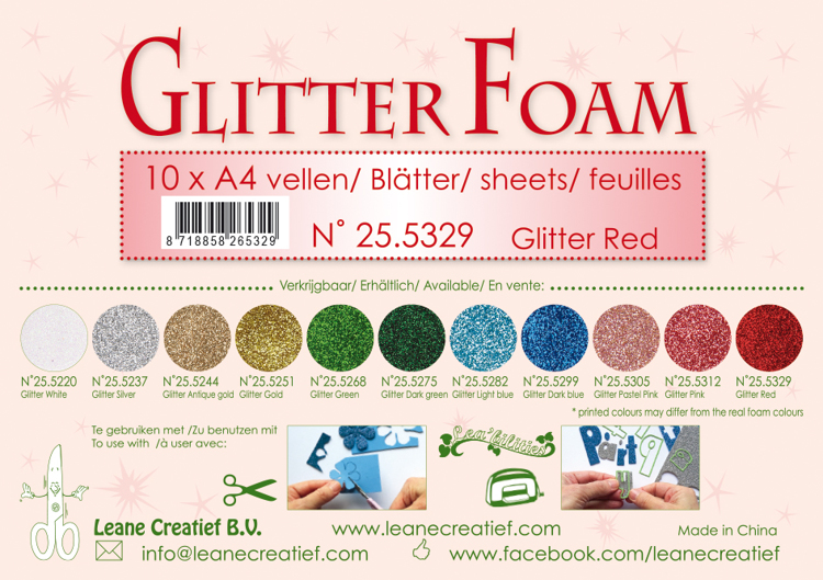 25.5329 Glitter foam sheets A4 Glitter Red 10 sheets