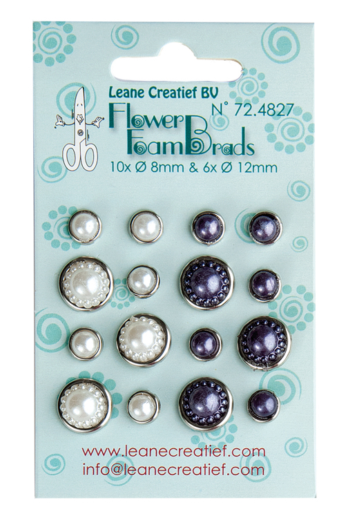 72.4827 Flower Foam pearl brads white & grey 6x 12mm. & 10x 8mm.