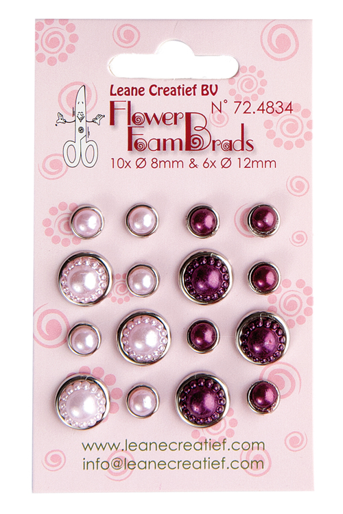 72.4834 Flower Foam pearl brads pink & bordeaux 6x 12mm. & 10x 8mm.