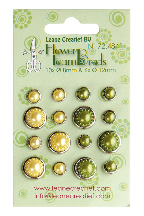 72.4841 Flower Foam pearl brads yellow & green 6x 12mm. & 10x 8mm.