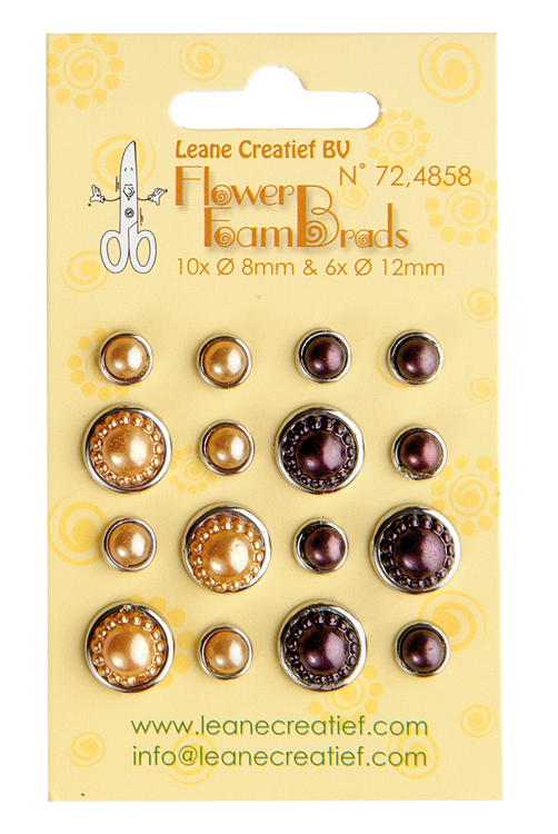 72.4858 Flower Foam pearl brads yellow & brown 6x 12mm. & 10x 8mm.
