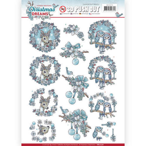 SB10276 3D Pushout - Yvonne Creations - Christmas Dreams - Christmas Animals