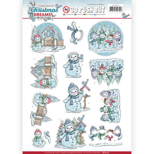 SB10277 3D Pushout - Yvonne Creations - Christmas Dreams - Snowman