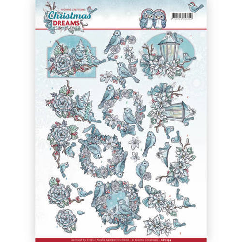 CD11134 3D Knipvel - Yvonne Creations - Christmas Dreams - Christmas Birds