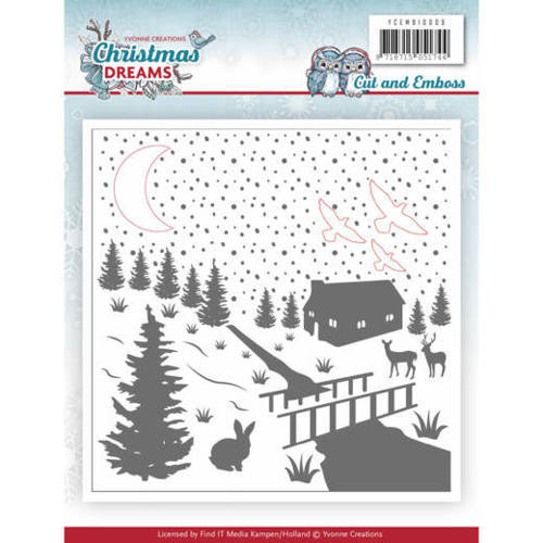YCEMB10009 Embossing Folder - Yvonne Creations - Christmas Dreams