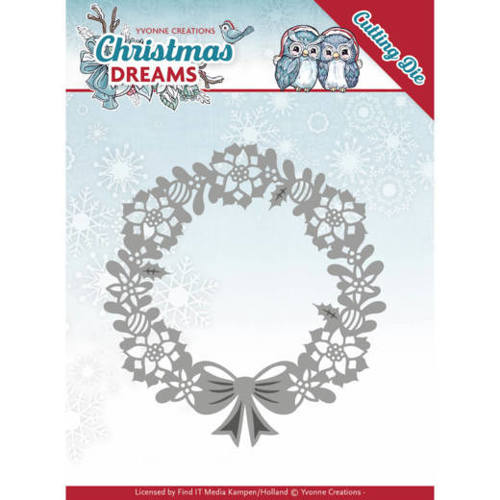 YCD10143 Dies - Yvonne Creations - Christmas Dreams - Poinsettia Wreath