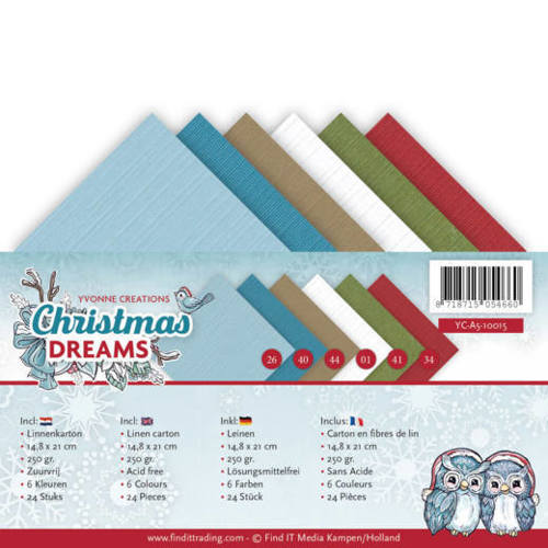 YC-A5-10015 Linnenpakket - A5 - Yvonne Creations - Christmas Dreams