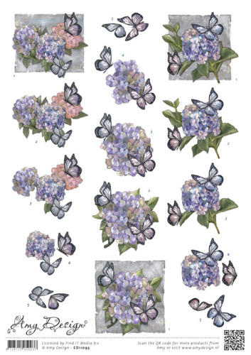 CD11093 3D knipvel - Amy Design - Hortensias