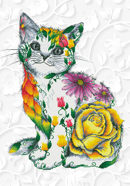 DD13.021 Diamond Dotz - Flower Puss 55x78cm