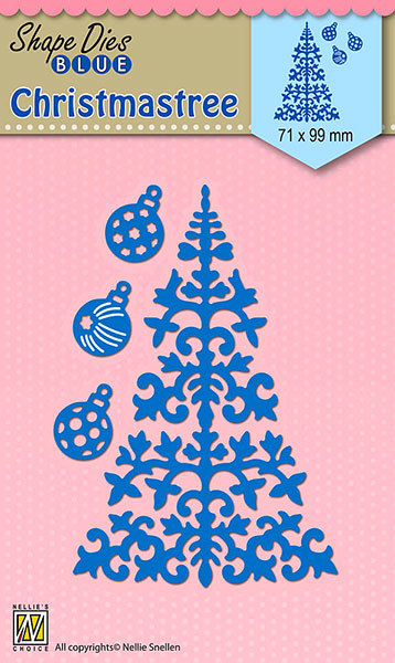 SDB063 Shape Dies Blue Christmas tree & baubles 71x99mm