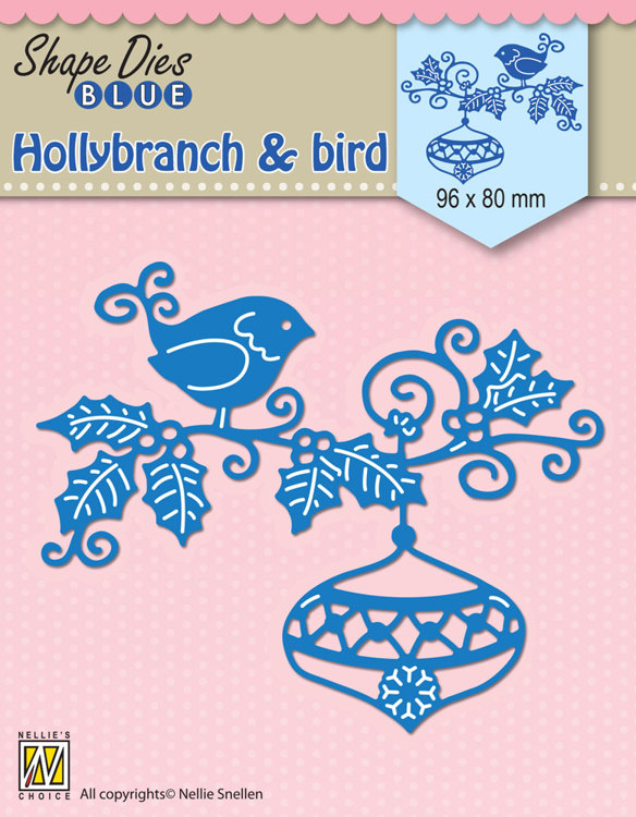 SDB064 Shape Dies Blue Holly branch, bauble & bird 96x80mm