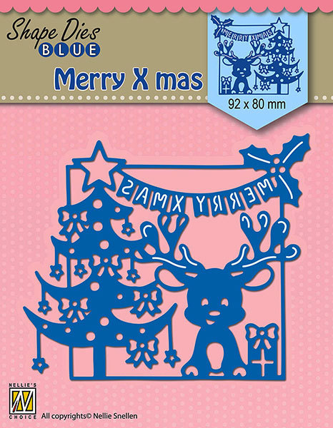 SDB065 Shape Dies Blue Merry Christmas scene 92x80mm