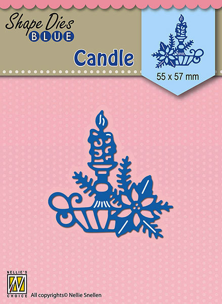 SDB067 Shape Dies Blue Christmas candle 55x57mm