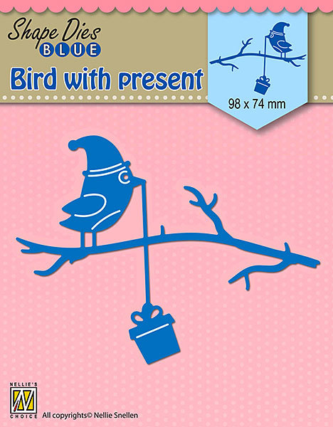 SDB068 Shape Dies Blue Bird with present 98x74mm