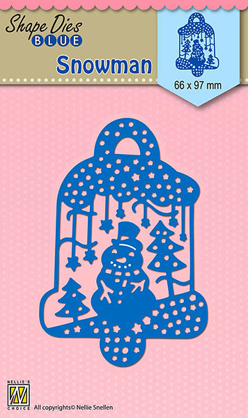 SDB070 Shape Dies Blue Scene with snowman 66x97mm