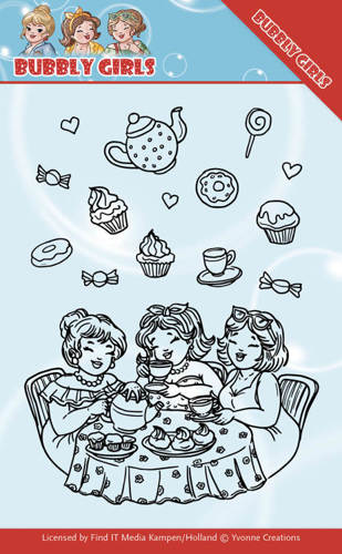 YCCS10043 Clear Stamps - Yvonne Creations - Bubbly Girls - Tea Party