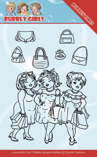YCCS10044 Clear Stamps - Yvonne Creations - Bubbly Girls - Gone Shopping