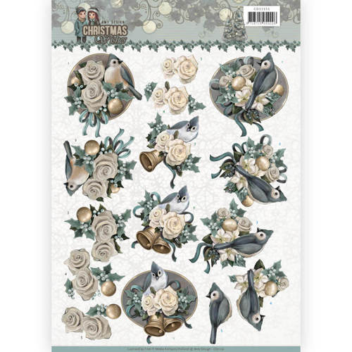 CD11151 3D Knipvel - Amy Design - Christmas wishes - Birds and Bells
