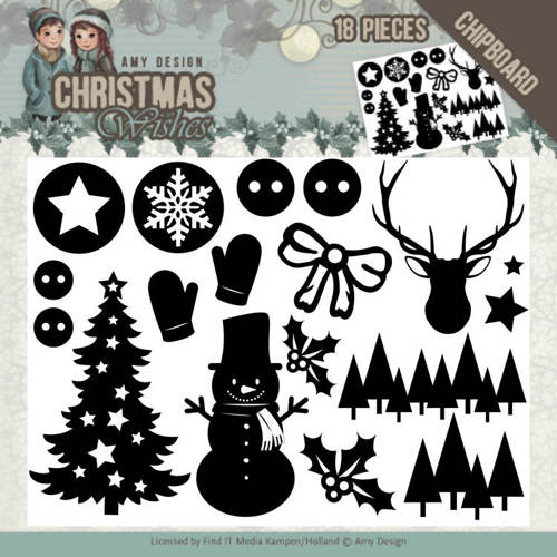 ADCB1003 Chipboard - Amy Design - Christmas Wishes - afbeelding