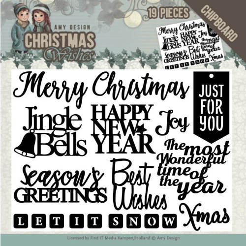 ADCB1002 Chipboard - Amy Design - Christmas Wishes - Text