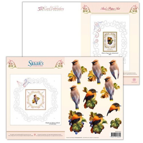 3DCE13023 3D Card Embroidery Pattern Sheet  #23 with Ann &  Sjaak