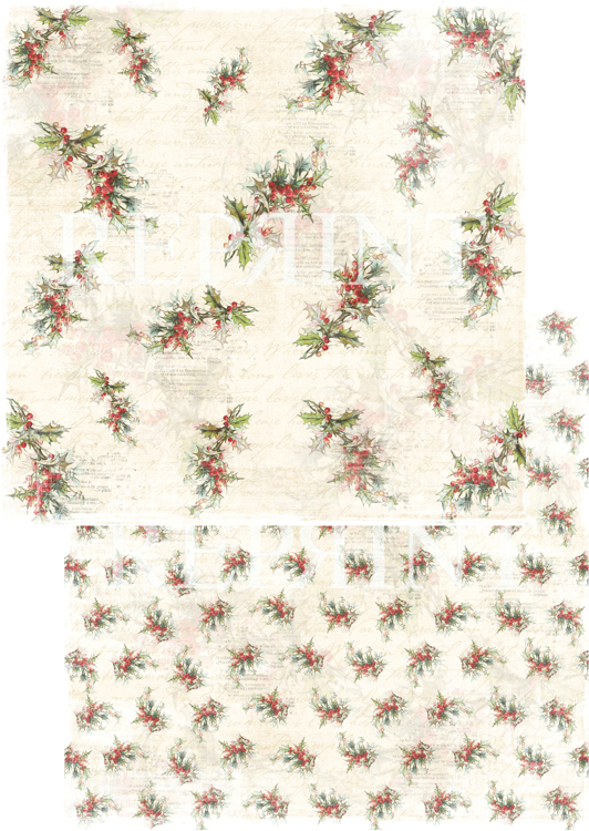 RP0238 Nordic Light Collection Patterned paper 12x12, 200 gm Hollyberries