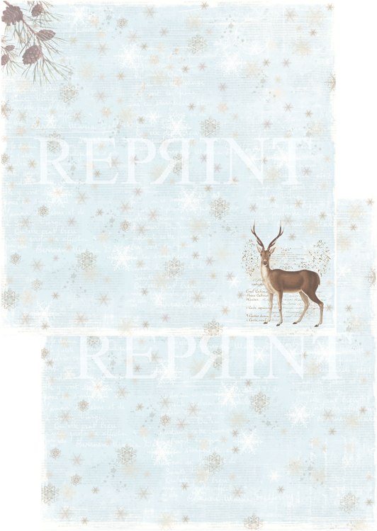 RP0245 Nordic Light Collection Patterned paper 12x12, 200 gm Reindeer