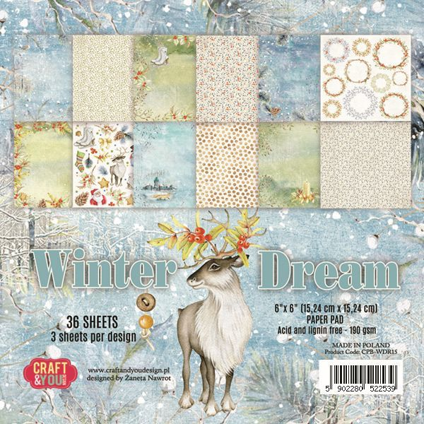 "CPB-WDR15 WINTER DREAM Small Paper Pad 6x6"" , 36 sheets,190 gsm"