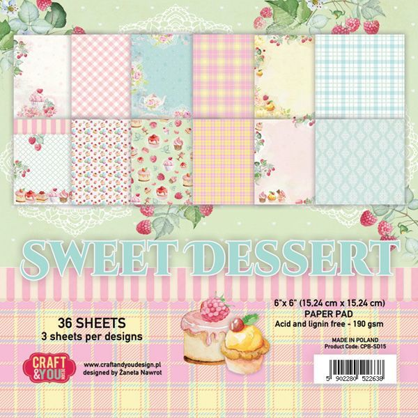 "CPB-SD15 SWEET DESSERT Small Paper Pad 6x6"" , 36 sheets,190 gsm"
