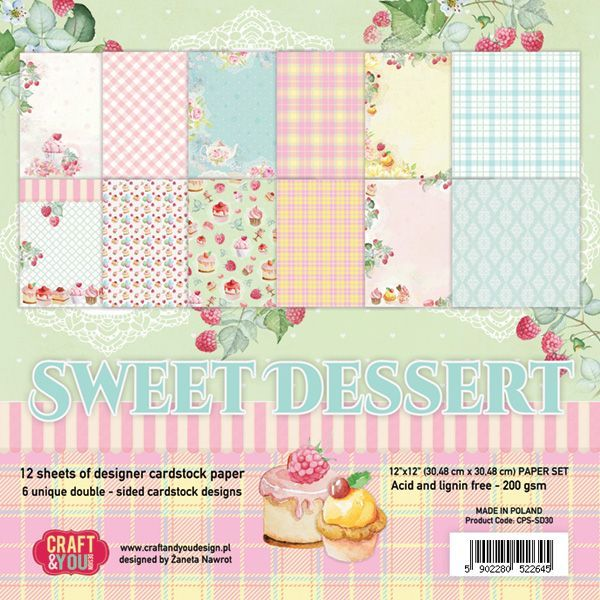 "CPS-SD30 SWEET DESSERT Paper Set 12x12"", 12 sheets ( 200 gsm )"