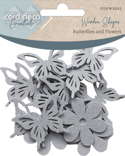 CDEWS002 Card Deco Essentials - Wooden Shapes - Butterflies and Flowers - Light Grey