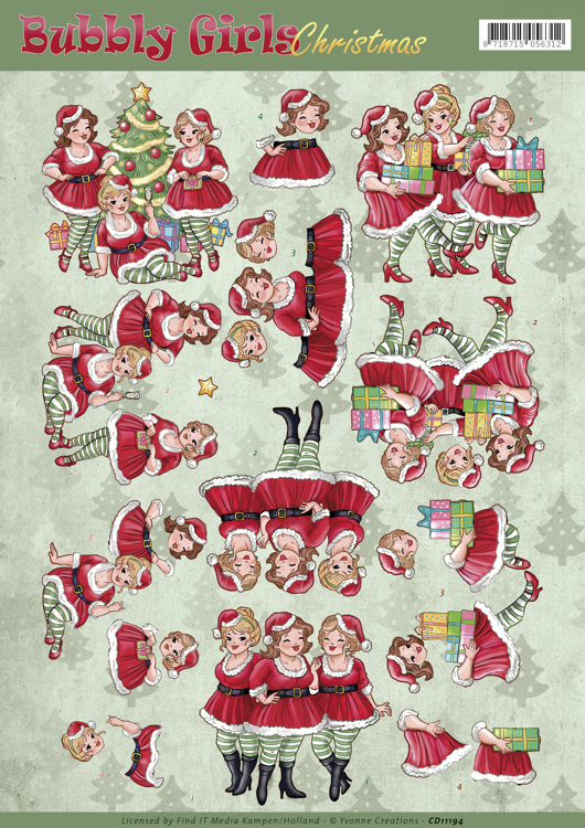 CD11194 3D Knipvel - Yvonne Creations - Bubbly Girls Christmas - Christmas Dresses
