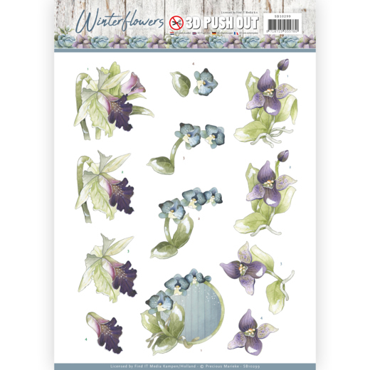 SB10299 3D Pushout - Precious Marieke - Winter Flowers - Orchids