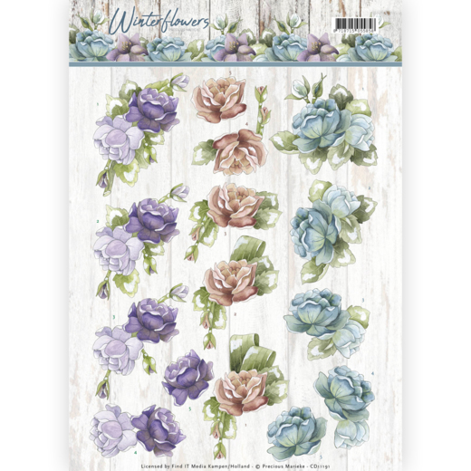 CD11191 3D knipvel - Precious Marieke - Winter Flowers - Roses