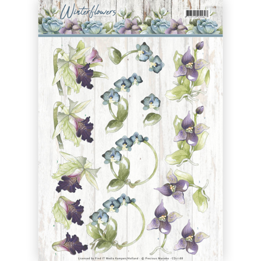 CD11188 3D knipvel - Precious Marieke - Winter Flowers - Orchids