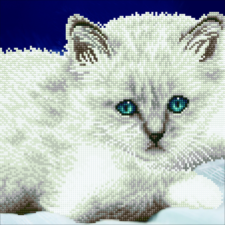 49295 DIAMOND ART Kits 32x32cm WHITE CAT