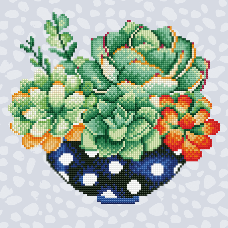 49299 DIAMOND ART Kits 32x32cm SUCCULENT BOWL