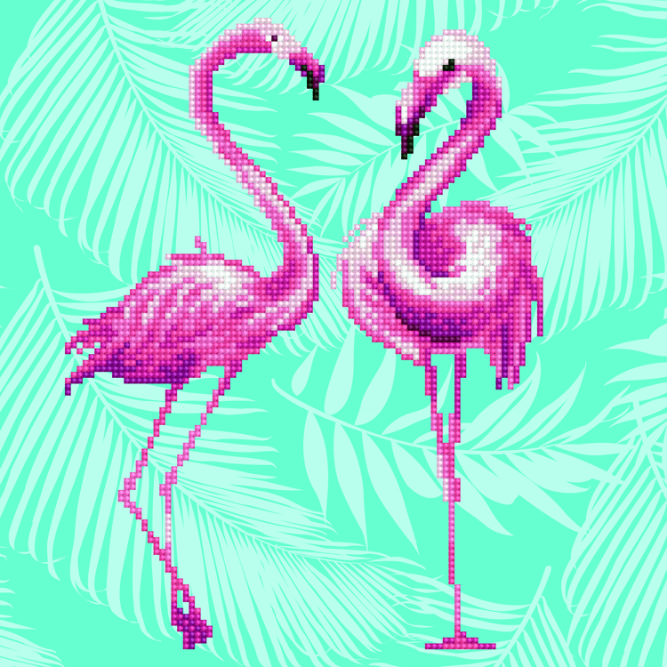 49353 DIAMOND ART Kits 32x32cm FLAMINGO DUO