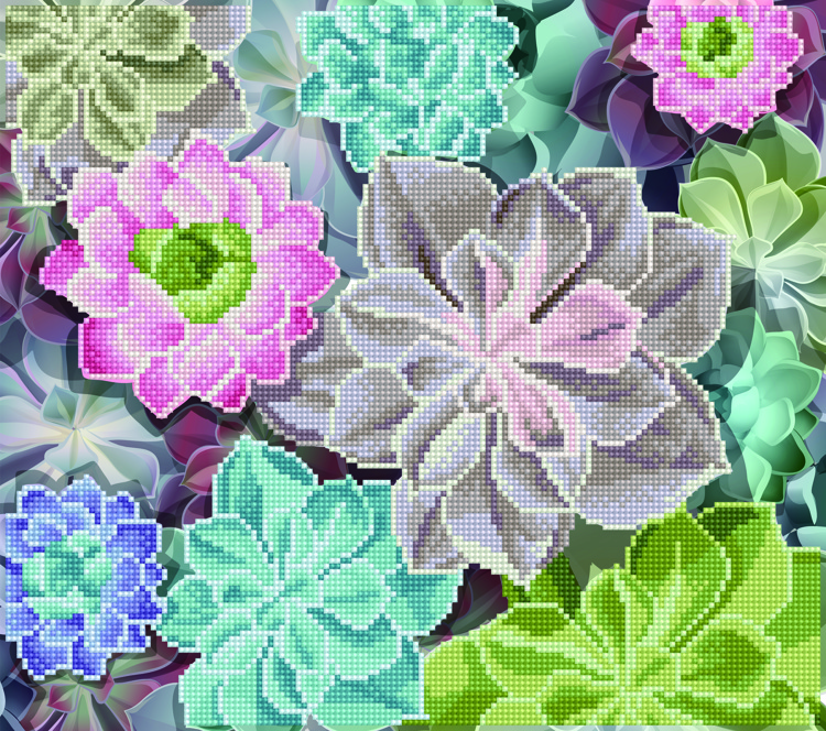 49389 DIAMOND ART Kits 37x42cm SUCCULENTS