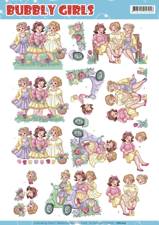 CD11214 3D Knipvel Yvonne Creations - Bubbly Girls - Spring