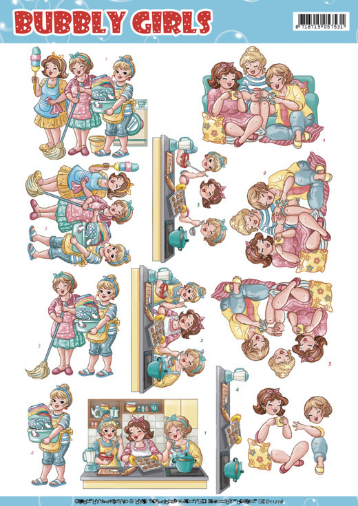 CD11216 3D Knipvel Yvonne Creations - Bubbly Girls - Round the house