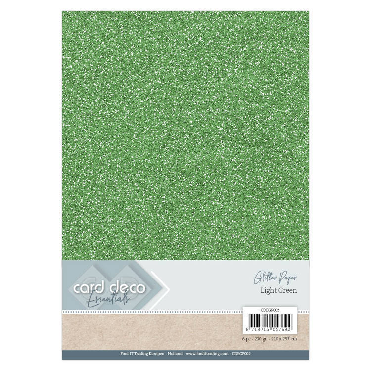CDEGP002 Card Deco Essentials Glitter Paper Light Green