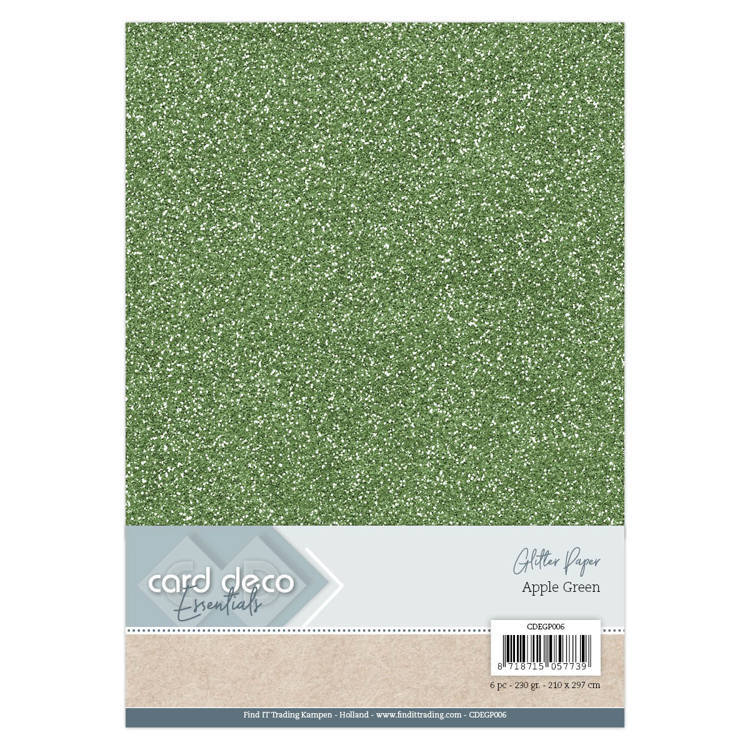 CDEGP006 Card Deco Essentials Glitter Paper Apple Green